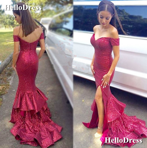 Sparkle Sequin Fabric Off-shoulder Mermaid Evening Dress Prom Gown ...