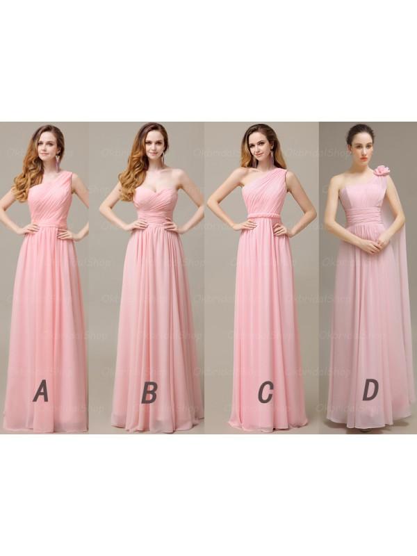 long bridesmaid dress, mismatched bridesmaid dress, pink bridesmaid ...