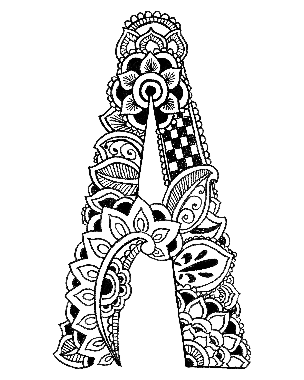 Coloring pages henna -  Coloring Pages Henna Alphabet Thumbnail 2