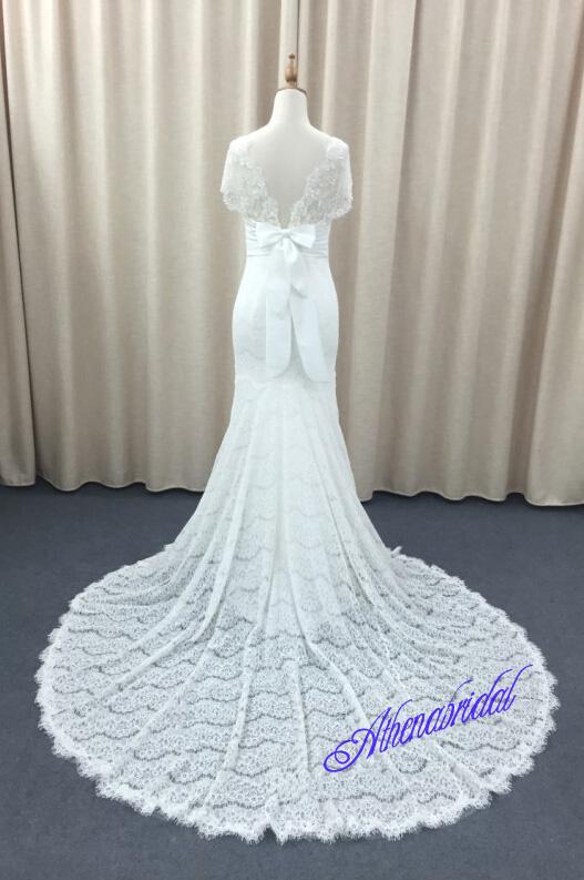 Modest wedding dress, lace wedding dresses, short sleeve wedding ...