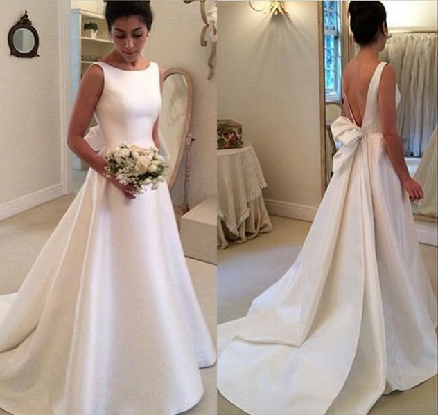 Ulass New Length Satin Backless with Bowknot Wedding Dresses Elegant ...