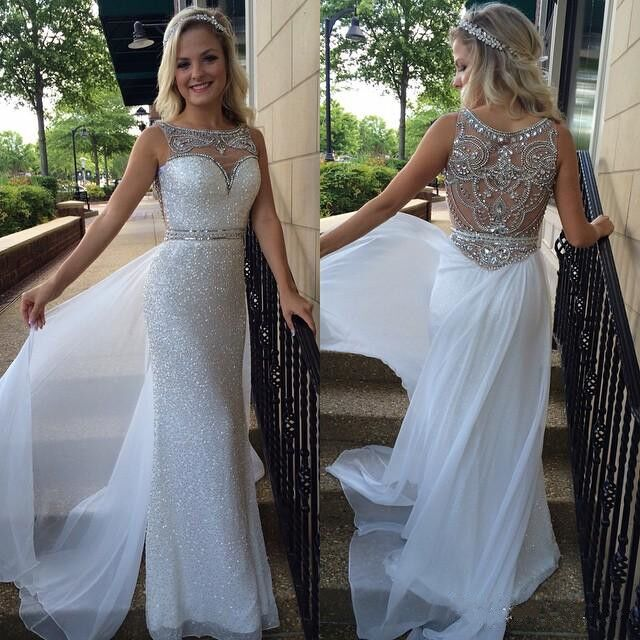 gorgeous prom dresses,White Sheath Column Bateau Floor-length ...