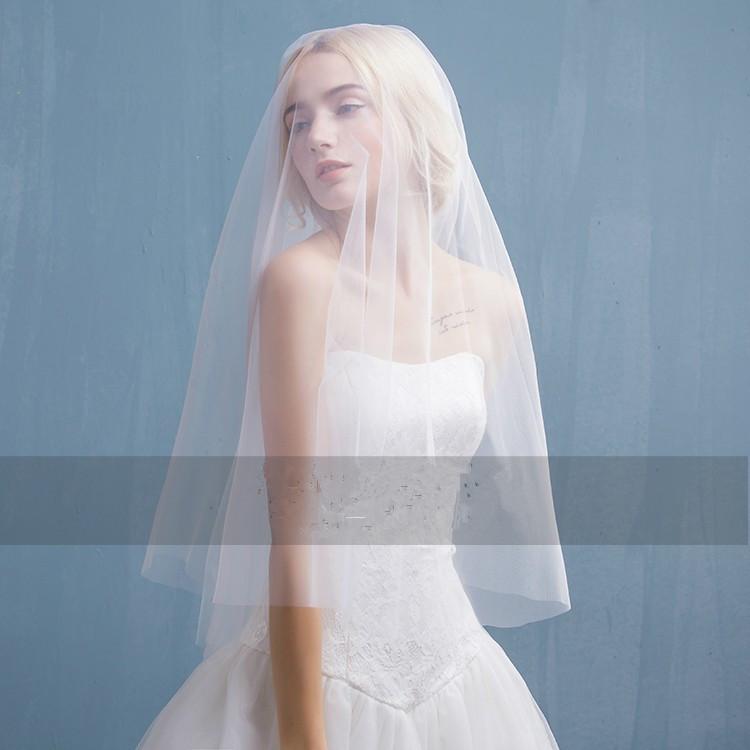 J20 Short Fashion Wedding Veil One-Layer Cut Edge Accessoires ...