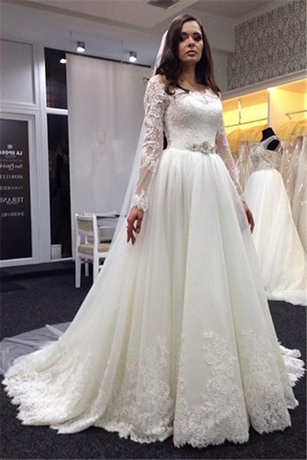 Weddings New Style Ball Gown Wedding Dress 2016 Sheer Long Sleeve ...
