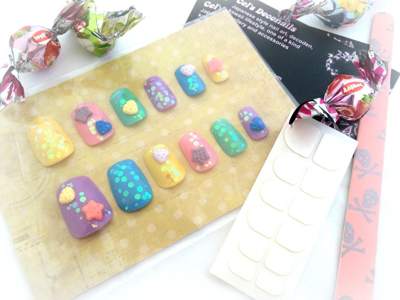 3D sweets kawaii press on nails, pastel cookie Japanese nail art ...