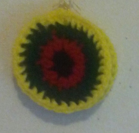 Yellow green red and black crochet earrings crystals for Red black and green jewelry
