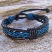 Black and Blue Leather Bracelet