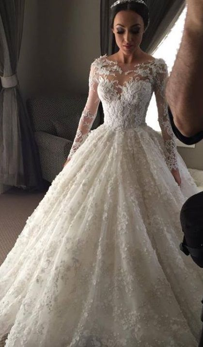 Romantic wedding dress,Appliques Wedding Dress,Long-Sleeves wedding ...