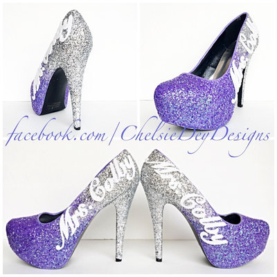 Purple Glitter High Heels   Lilac Lavender Silver Ombre Pumps   Wedding  Last Name   Sparkly