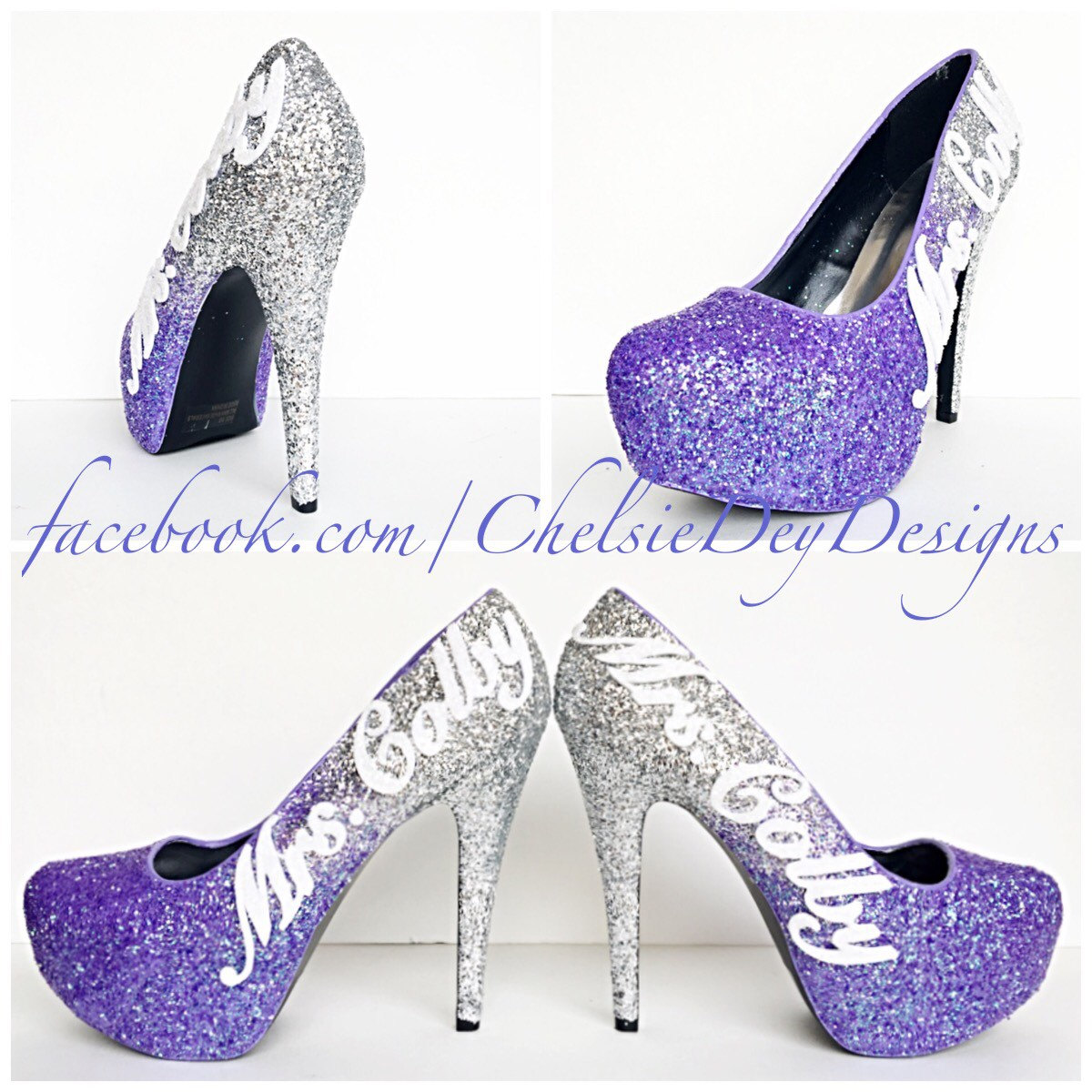 Purple Glitter High Heels - Lilac Lavender Silver Ombre Pumps ...