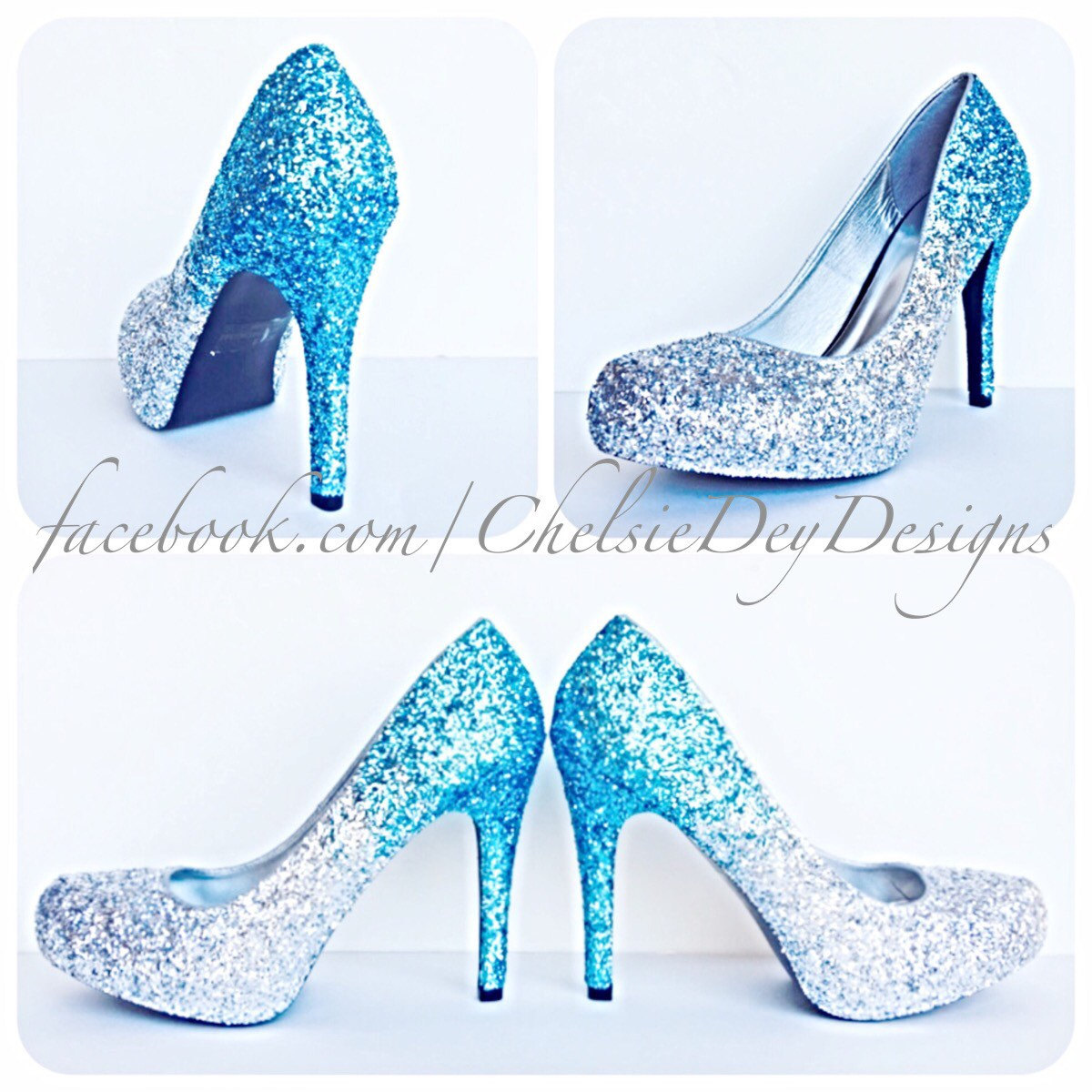 Glitter High Heels - Blue and Silver Pumps -Aqua Turquoise Ombre ...