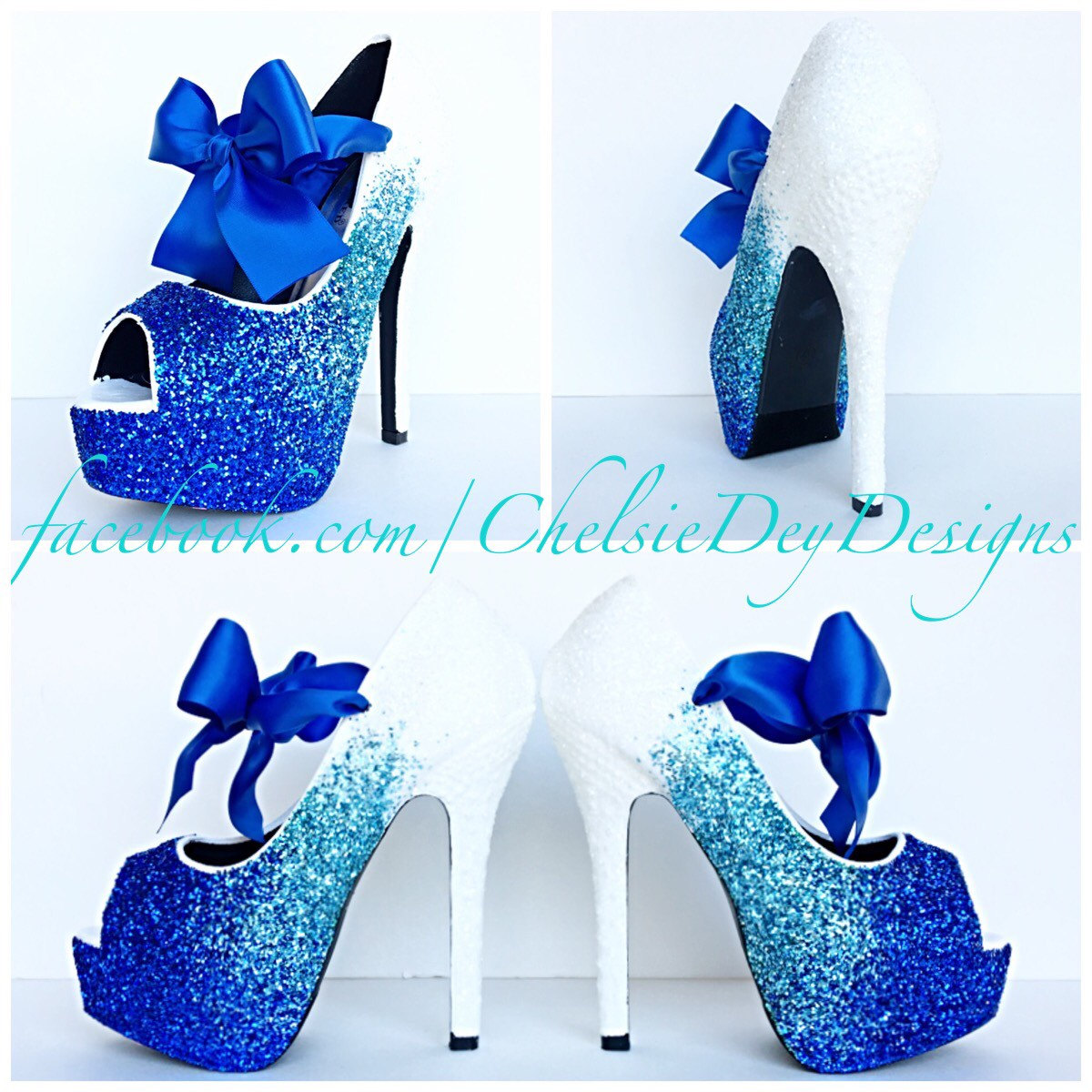 Charmant Glitter High Heels   Royal Blue Robins Egg White Ombre   Peep Toe Pumps    Blue