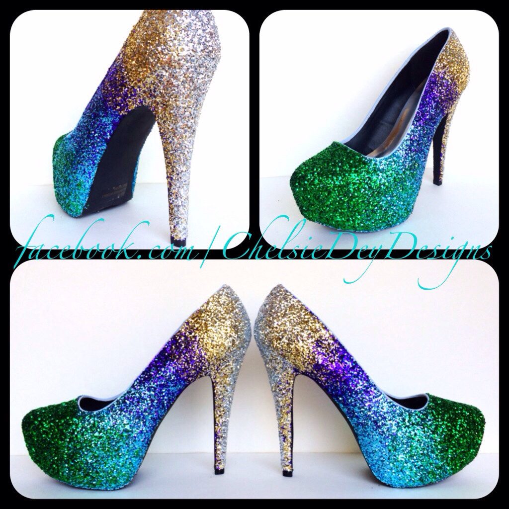 Glitter High Heels - Gold Green Royal Blue Purple Ombre Pumps ...