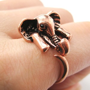 Miniature African Elephant Animal Wrap Ring in Shiny Copper Sizes 6 to 10.5