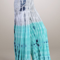 Tie Dye Palazzo Ombre Stretch Wide Leg Lounge Yoga Pants Fold Over Tiedye Aqua Navy Gray SML