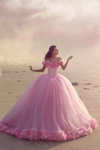 A27 Fairy Princess Wedding Dress, Pink