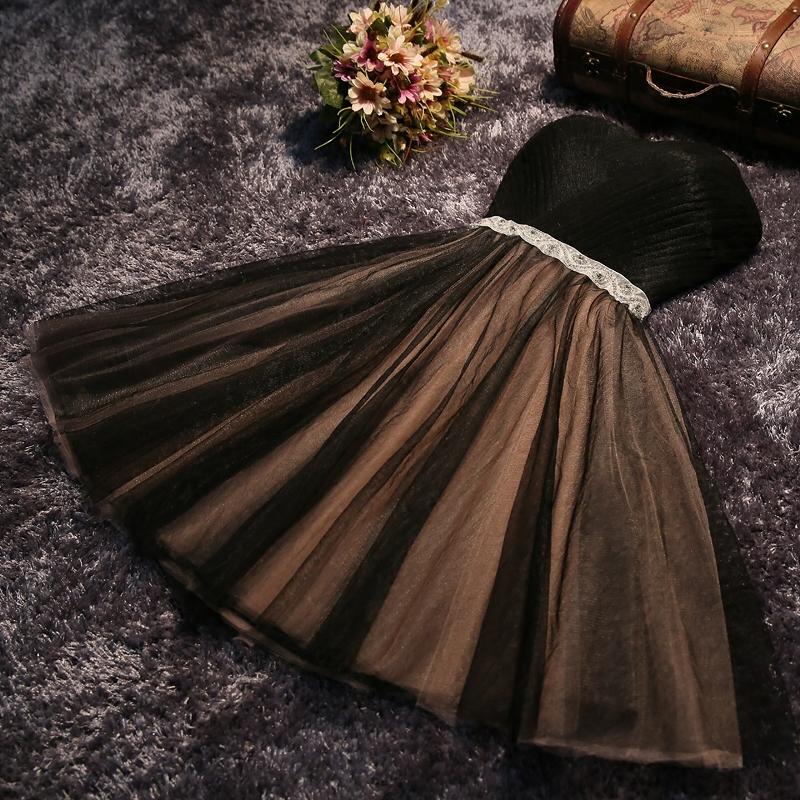 little cute cute black strapless short prom dress