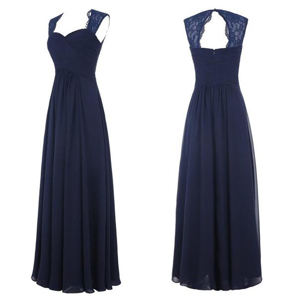 Cap sleeve bridesmaid dress, navy bridesmaid dresses, cheap bridesmaid  dresses, chiffon bridesmaid dresses, long bridesmaid dresses,XB7 from  Special ...