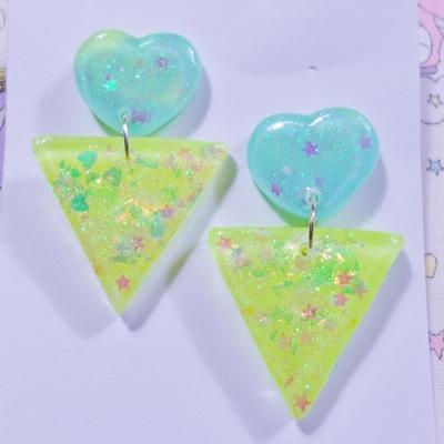80's POP Earrings- Heart ♡ Triangle