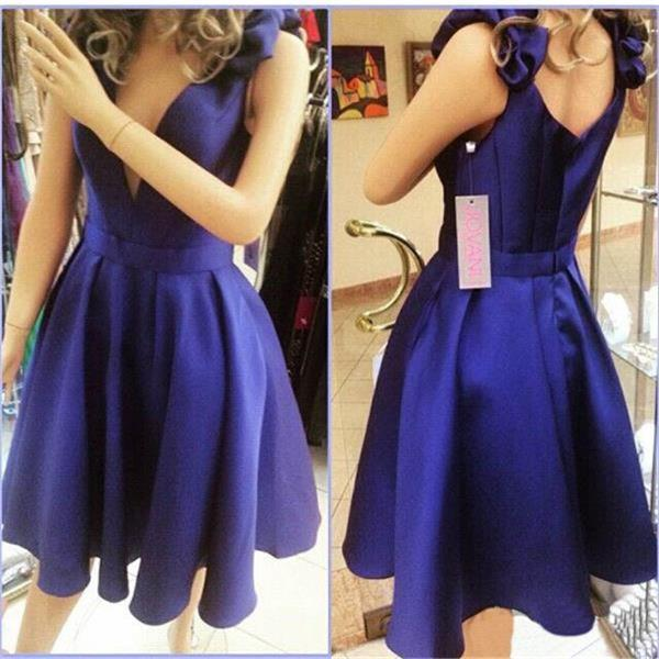 V-neck Homecoming Dress,Short Junior Homecoming Dress, Blue Evening ...