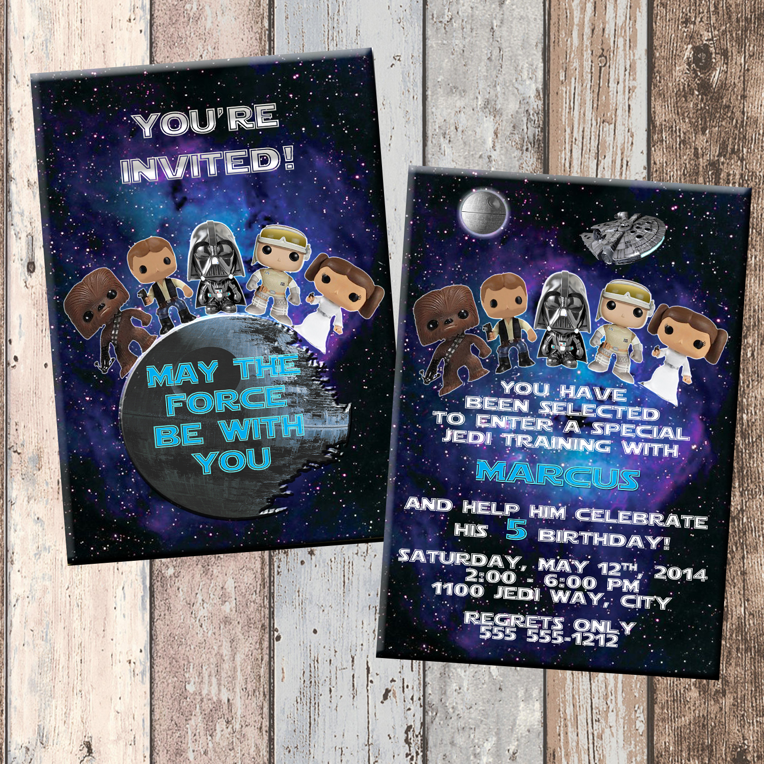 Star Wars Babies Personalized Birthday Invitation 2 Sided, Birthday ...