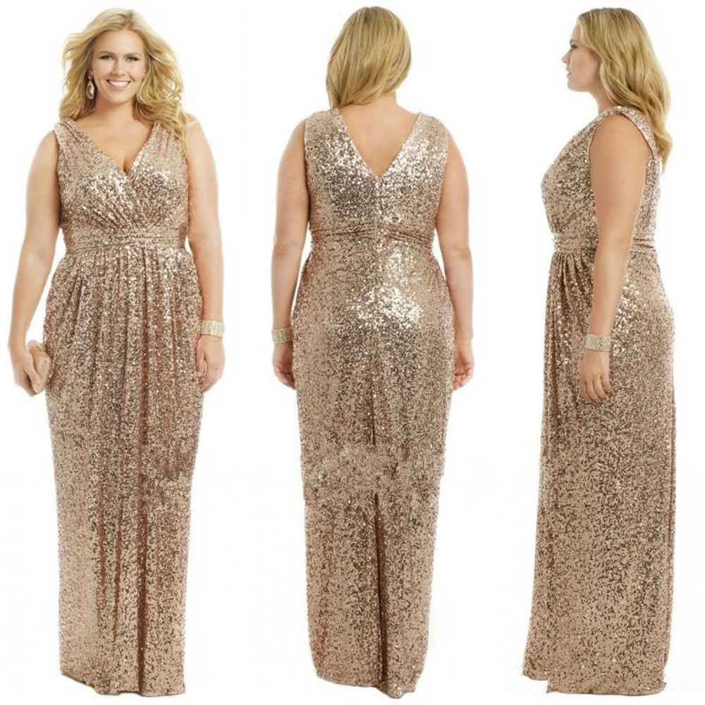 J102 Gold Wedding Prom Long Gowns Plus Size Elegant Champagne Rose ...