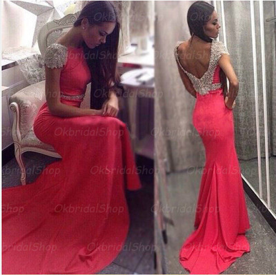 long prom dress, hot pink prom dress, mermaid prom dress, special ...