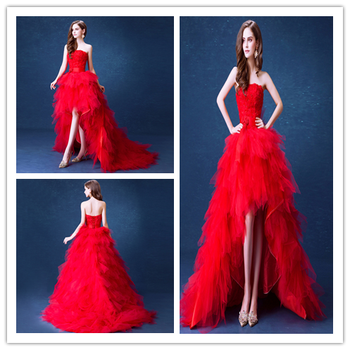 J110 Red Wedding Dresses The Bride Married Lace Flower Strapless ...