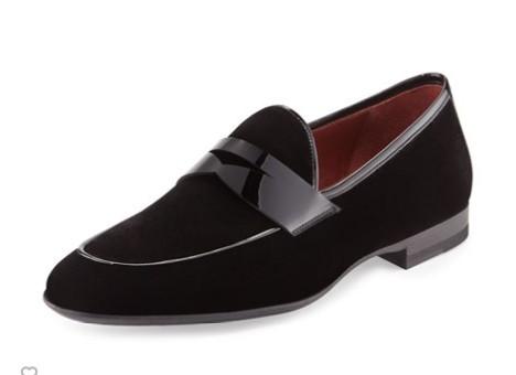 Men Fashion Black Velvet Shoes Mens Black Velvet