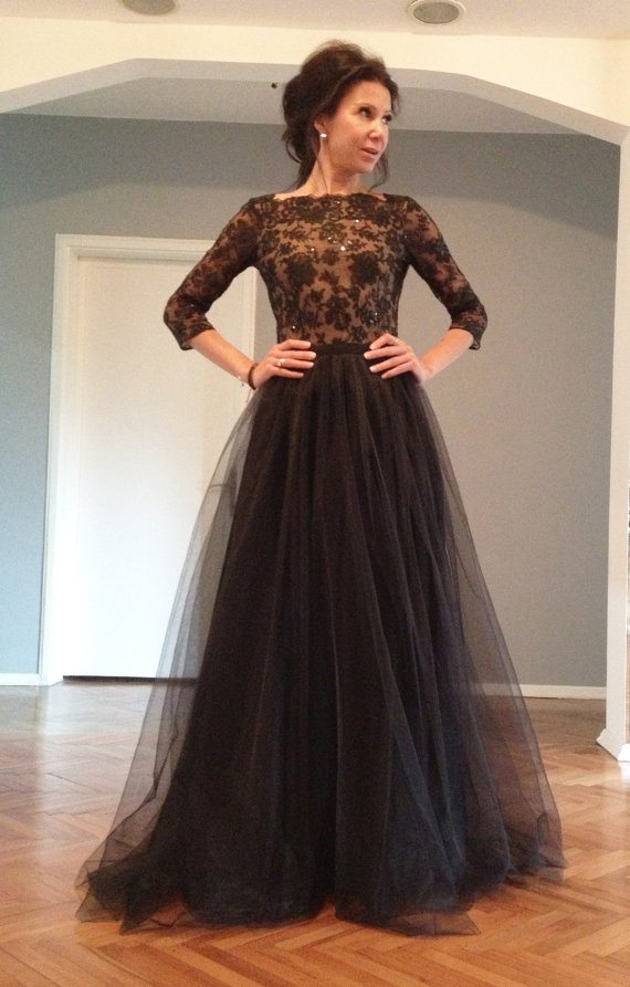 Black Prom Dress, Lace Prom Dress, Long Sleeves Prom Dress, Backless ...