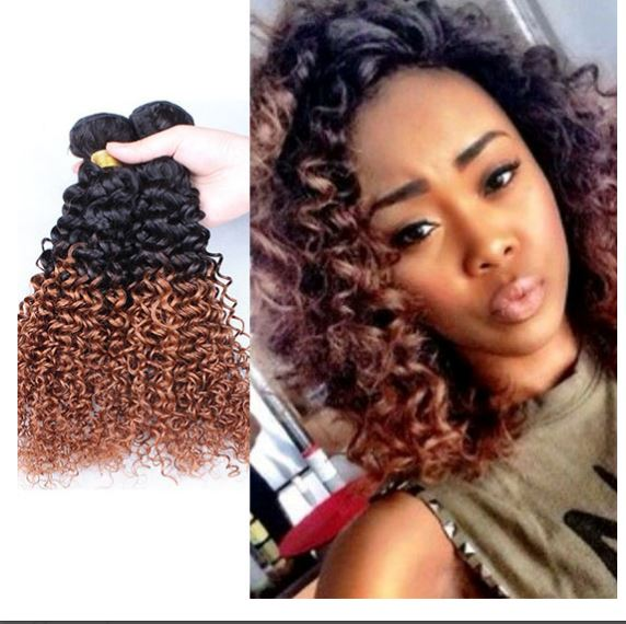 Fashion Brazilian Curly Ombre Hair Extensions 3 Bundles Color 1b30