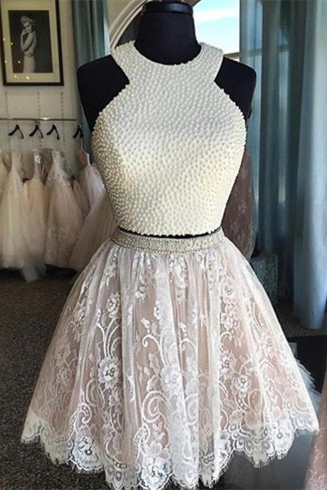 Halter White Lace Beads Homecoming Dresses,Two Pieces Short ...