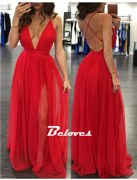 c13510acbc49 Red Deep V Neck Bacless Long Party Dress