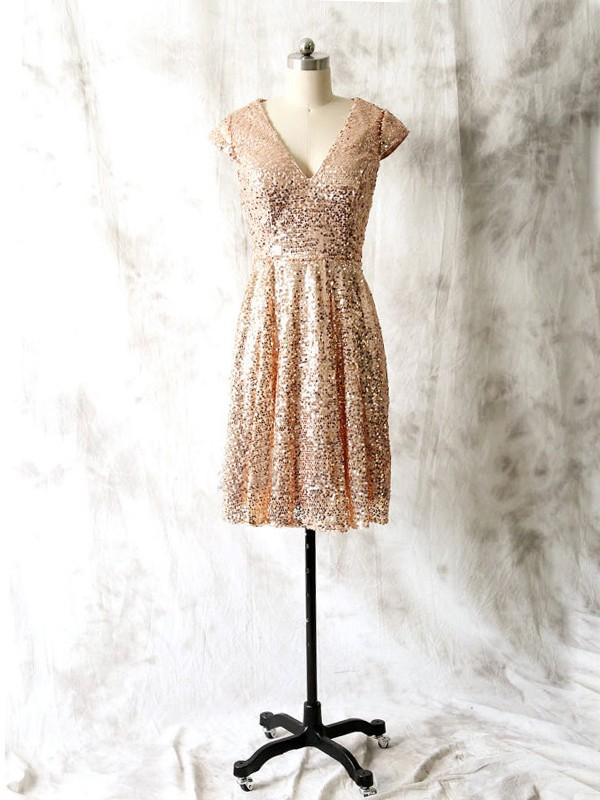 short bridesmaid dress,sequins bridesmaid dress, short sleeve ...