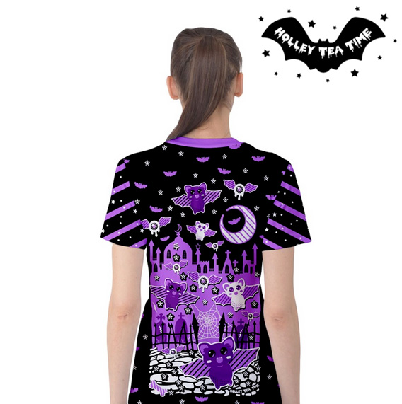 Spooky Bats All Over Print T Shirt Made To Order