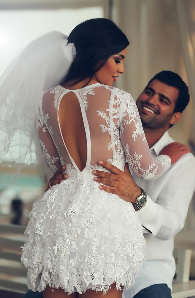 Wedding Dress Sheath White Sweetheart Sheer Sleeves Lace Mini Short ...