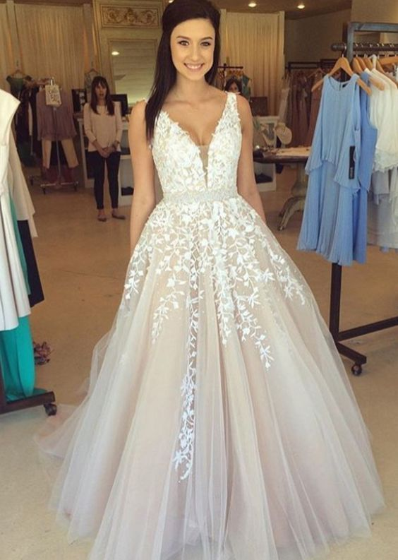 Lace tulle prom dress, A line prom dress, lace wedding dress, 2017 ...