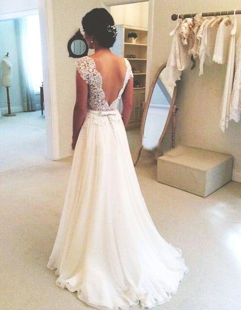 Ivory Lace Long Wedding Dresses,Handmade Wedding Dresses,Bridal ...