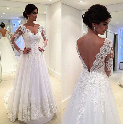 Lace Wedding Dresses,Long Sleeves Wedding Gowns,White Bridal Gowns ...