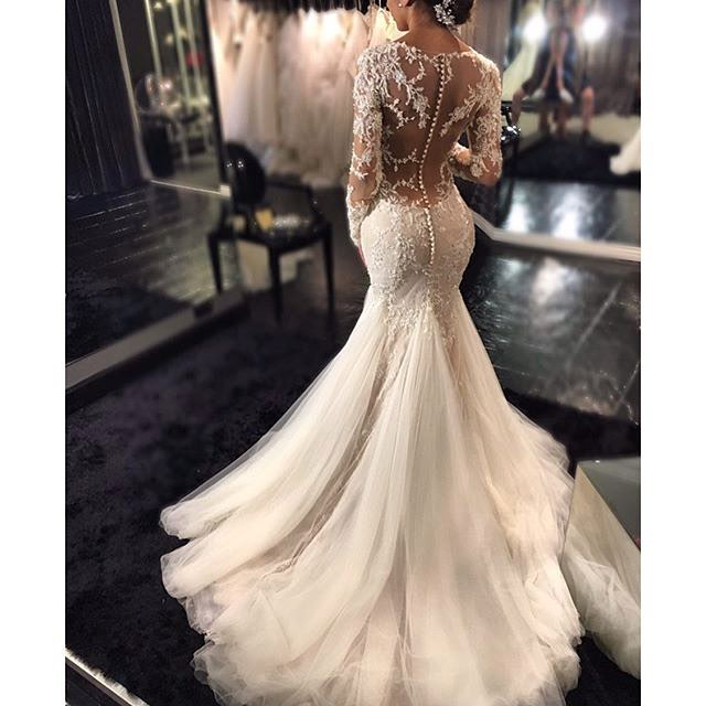 Romantic Boho Mermaid Wedding Dresses Long Sleeves Lace Beaded Sheer