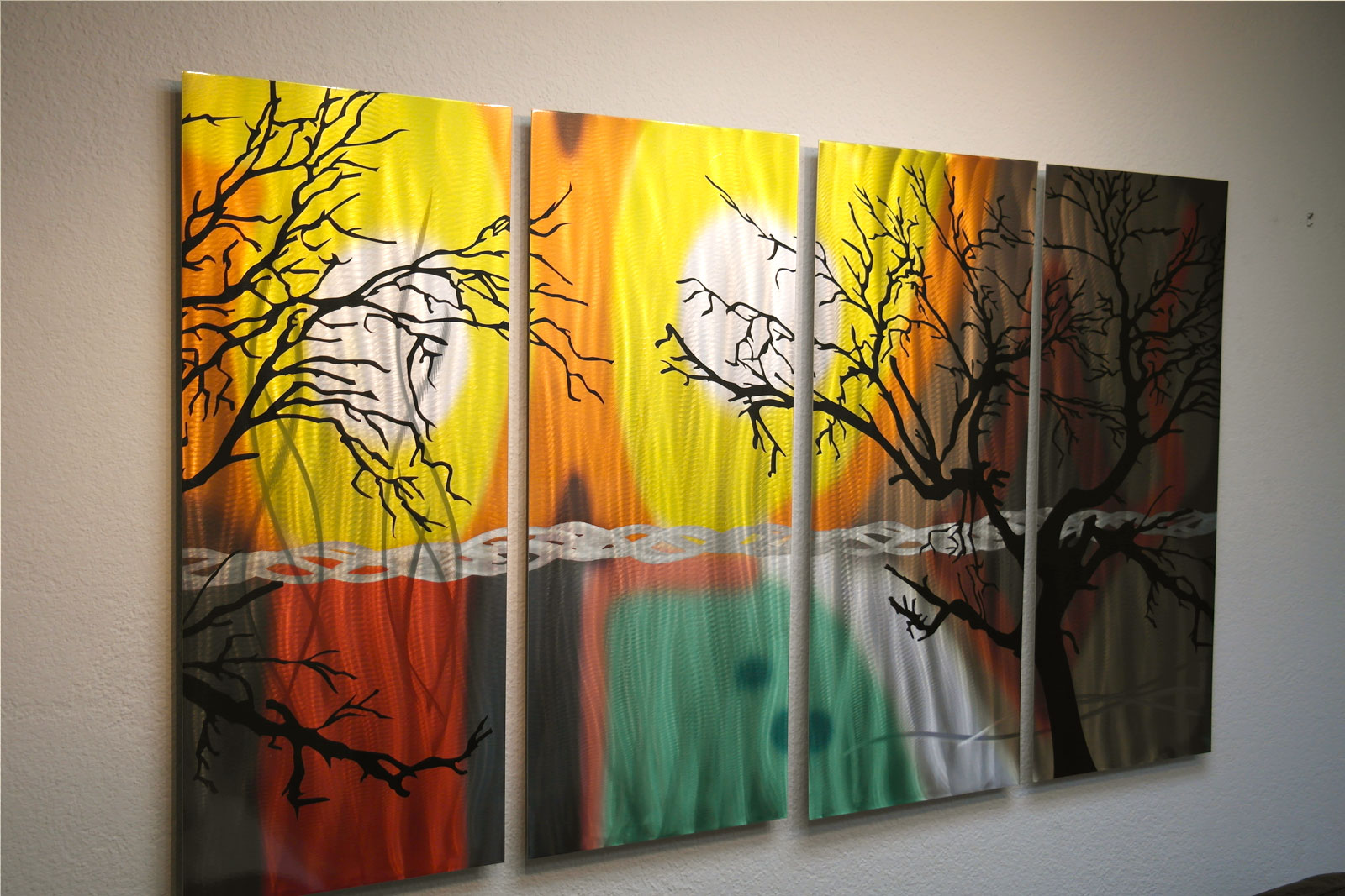 Tree in Silhouette 36x63 - Metal Wall Art Abstract Sculpture Modern ...