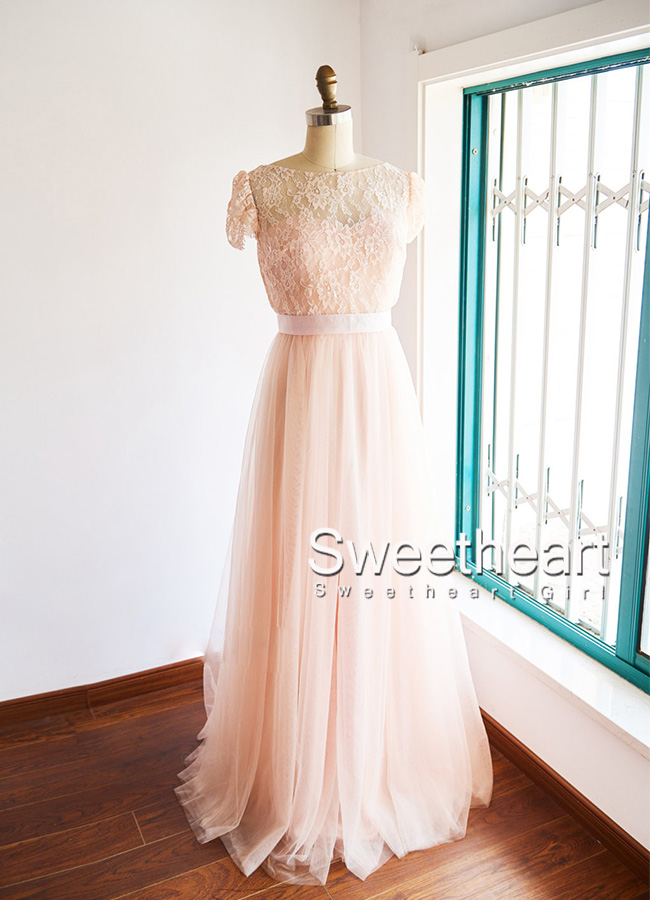 Sweetheart Girl | blush pink two pieces lace tulle long prom dress ...