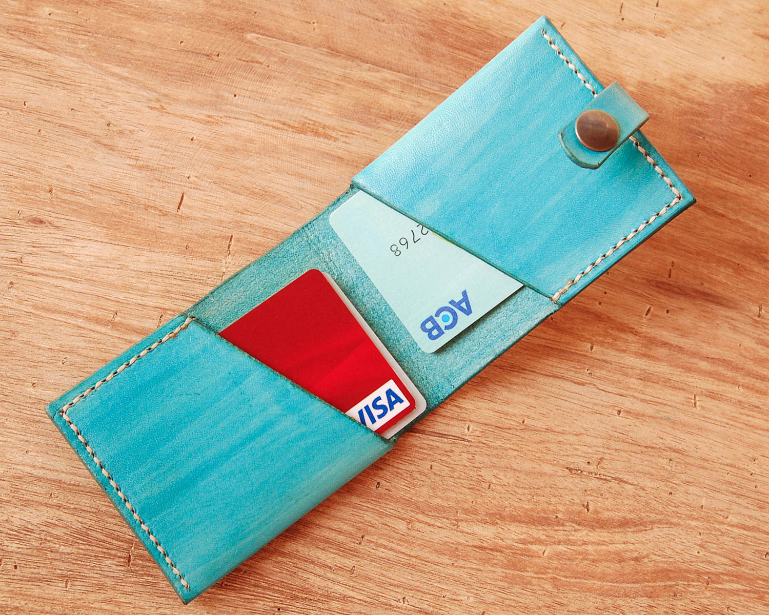 Unique Leather Card Holder Wallet- Minimalist hand sewn bifold ...