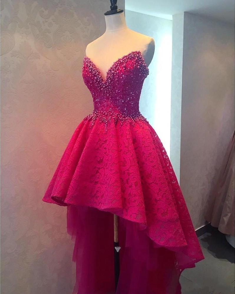 Sexy High Low Long Prom Dresses, Beaded Lace Prom Dresses ...