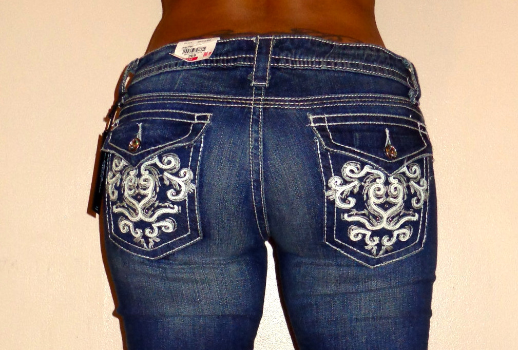 a n a rhinestone button flap pocket bootcut leg denim ana