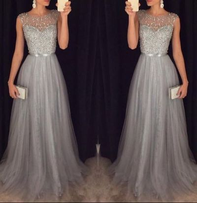 New Tulle Grey Prom Dresses Modest Evening Dress With Sparkle ...
