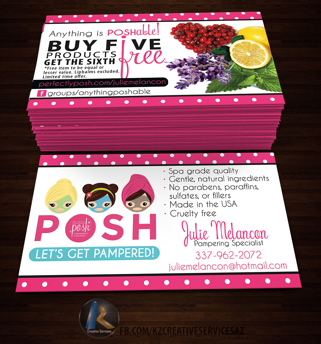 PERFECTLY POSH BUSINESS CARDS - 6 · KZ Creative Services · Online ...
