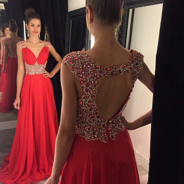 V-Neck Floor Length Prom Dresses