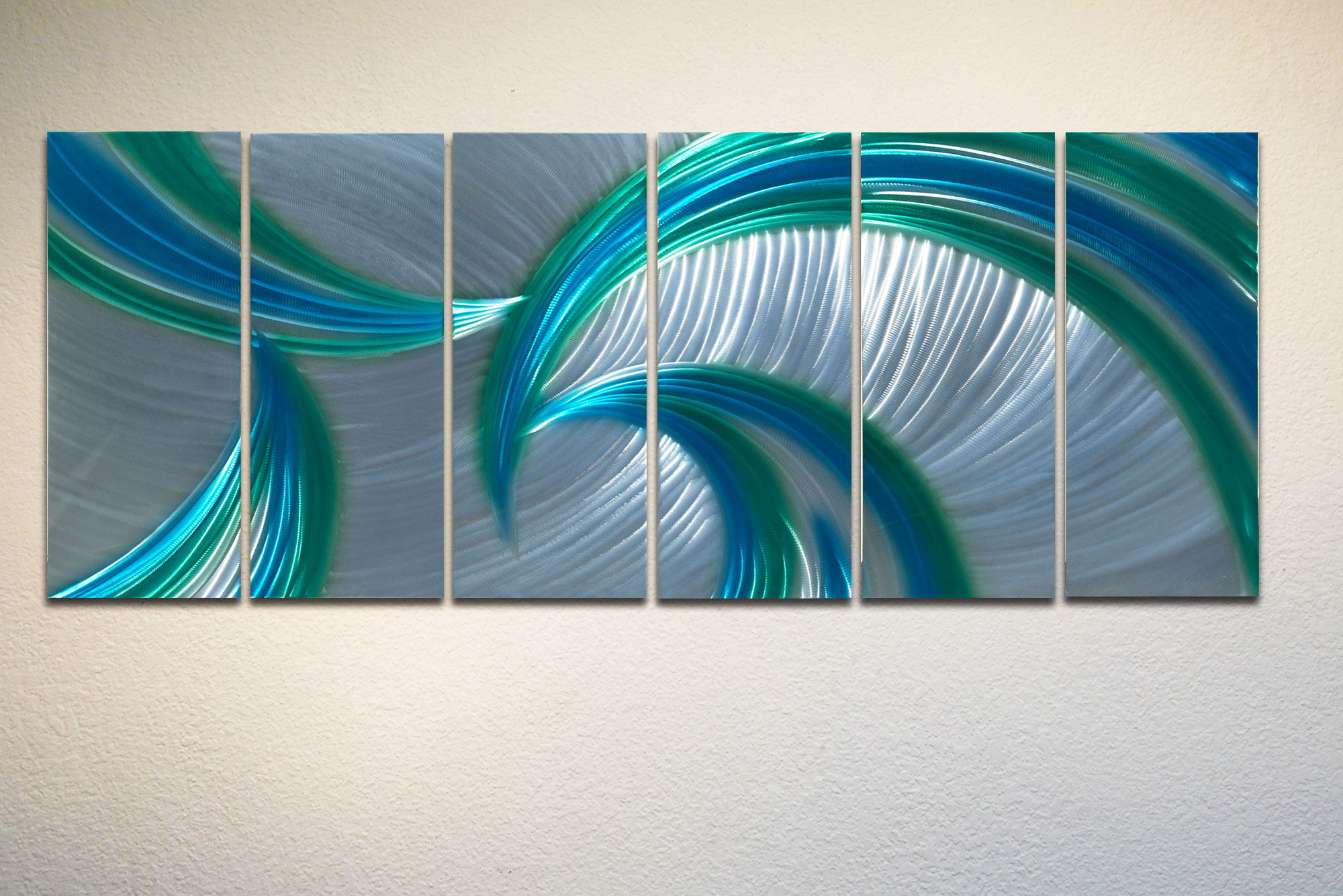 Blue Metal Wall Art tempest blue green 48x125 - metal wall art abstract sculpture