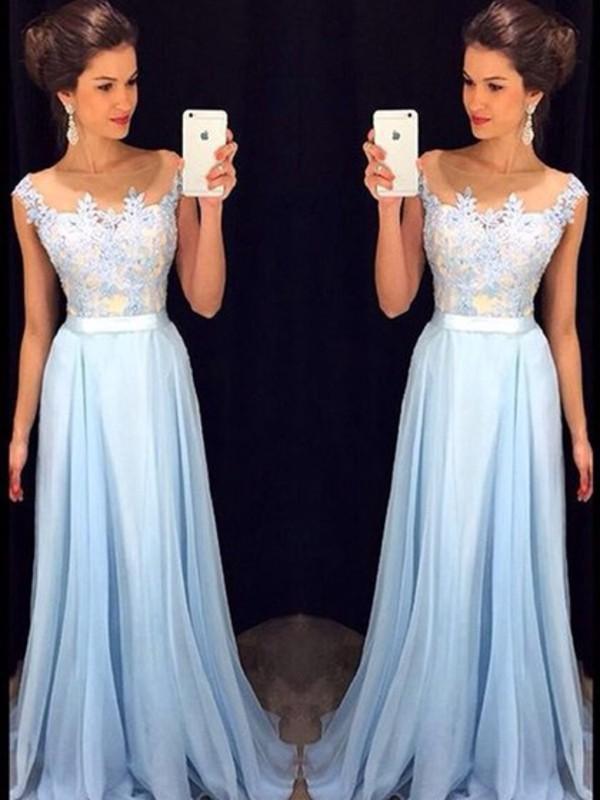 Elegant light blue lace bridesmaid dresses,A-line prom dress ...